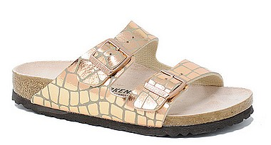 Birkenstock Arizona gator glam copper