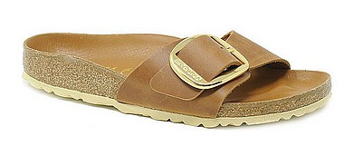 Birkenstock Madrid Big Buckle cognac leather