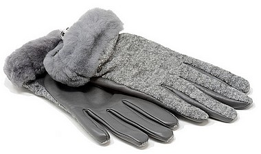 UGG® Fabrik Lthr Shorty Glove grigio charcoal