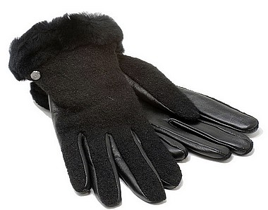 UGG® Fabrik Lthr Shorty Glove nero