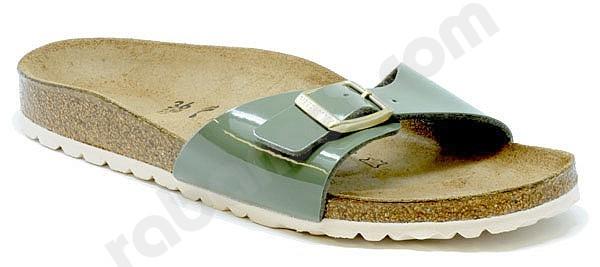 Birkenstock Madrid Schwarz Patent Schnalle flache Sandale